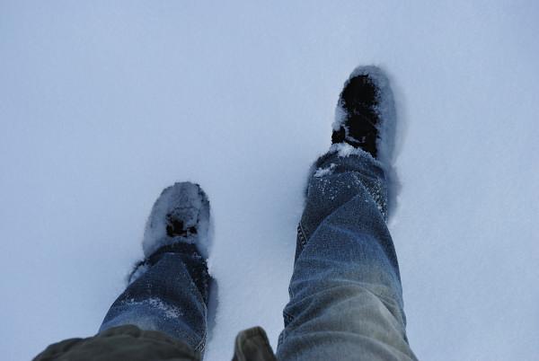 Im Schnee eingesunken